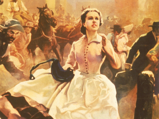 Margaret Mitchell's novel <em>Gone with the Wind</em> was published 75 years ago this month. A 1936 promotional poster for the book shows heroine Scarlett O'Hara running through the streets as Atlanta burns.