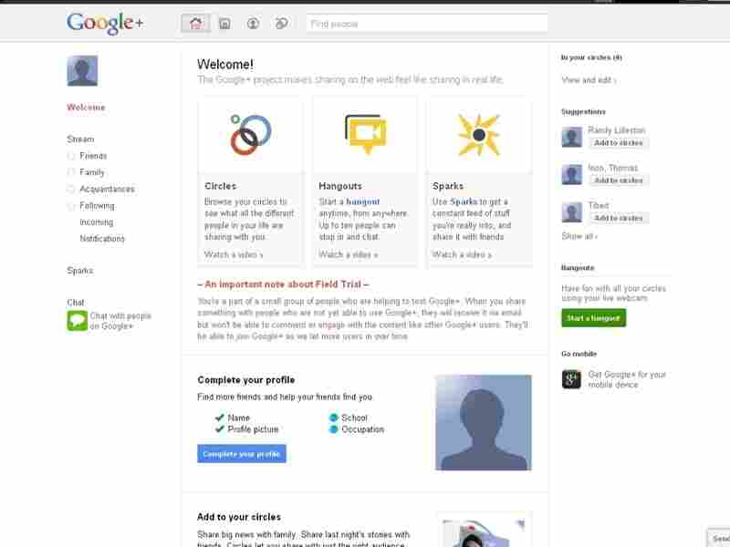 A screen shot of Google Plus.