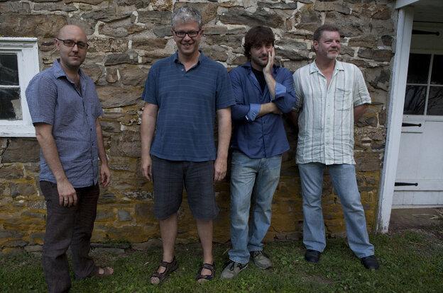 The band on saxophonist Noah Preminger's Before The Rain. L-R: John Hebert, Matt Wilson, Preminger, Frank Kimbrough.