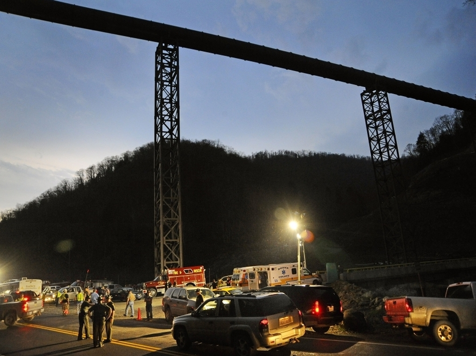 West Virginia State Police direct traffic at the entrance to Massey Energy's Upper Big Branch coal mine in Montcoal, W.Va., April 5, 2010.