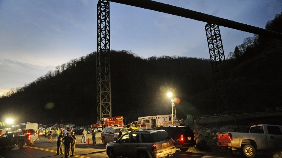 West Virginia State Police direct traffic at the entrance to Massey Energy's Upper Big Branch coal mine in Montcoal, W.Va., April 5, 2010. (AP)