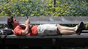 Even when we're relaxing, we're multitasking: A UC Berkeley student thumbs his mobile device.