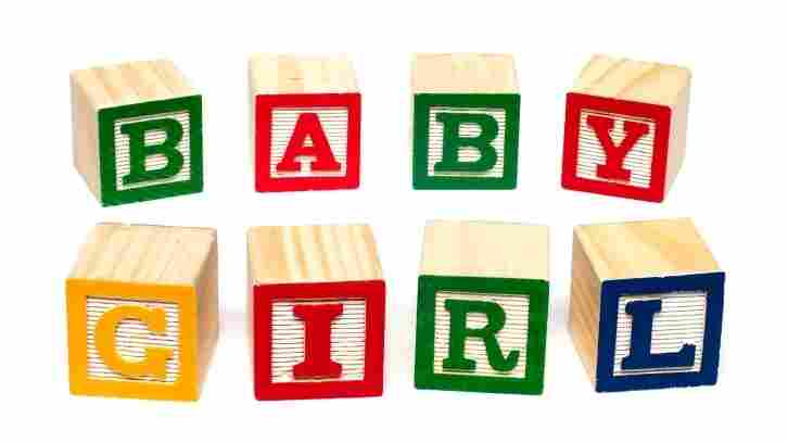 """Blocks that spell out """"baby girl."""""""