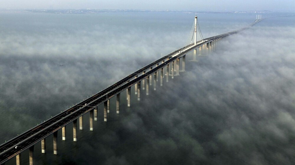 The 26-mile Jiaozhou Bay Bridge. (Photo taken Wednesday and released by China's Xinhua news agency.)