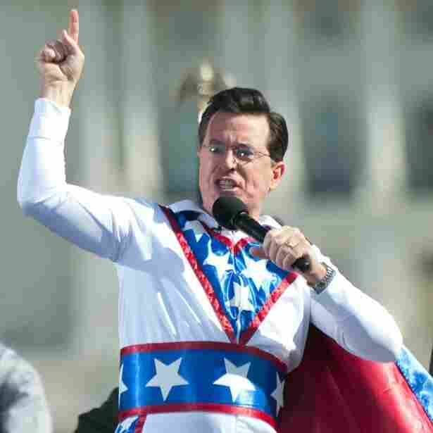 """Stephen Colbert at last October's """"Rally to Restore Sanity And/Or Fear"""" on the National Mall in Washington, D.C."""