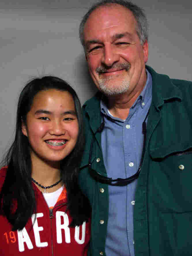 Aimee Gerold, 14, spoke with her father, Bob, at StoryCorps in Pensacola, Fla.