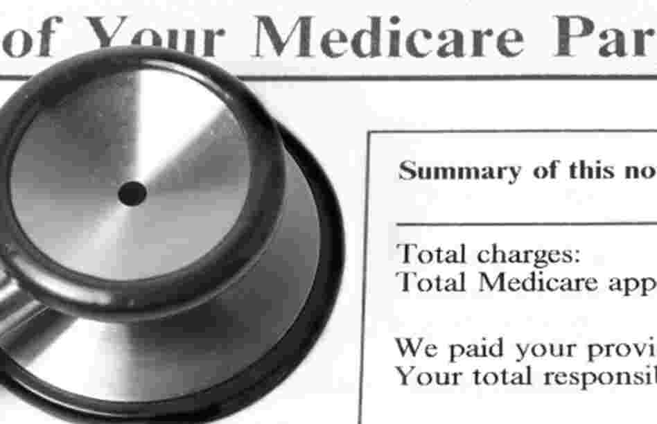 Stethoscope rests on a Medicare statement.