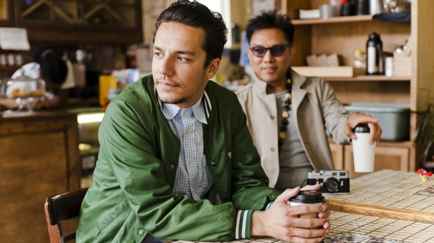 Blue Scholars are, from left to right, Sabzi and Geo. (Kyle Johnson for NPR)