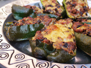 Pinto Bean and Pepperjack Cheese Chiles Rellenos