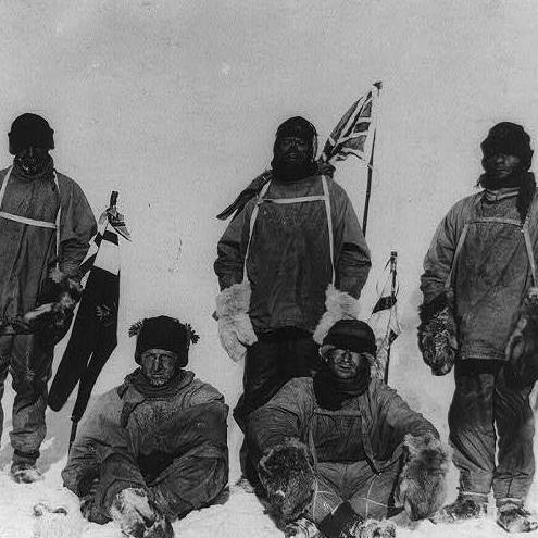 The members of the Terra Nova Expedition pose for a photograph at the South Pole in January 1912.