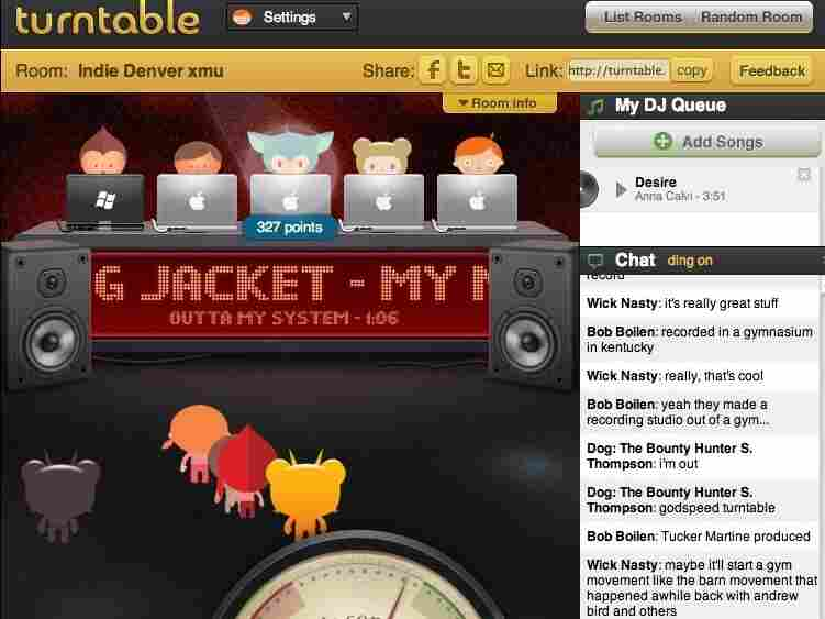 One of Turntable.fm's many chat rooms.