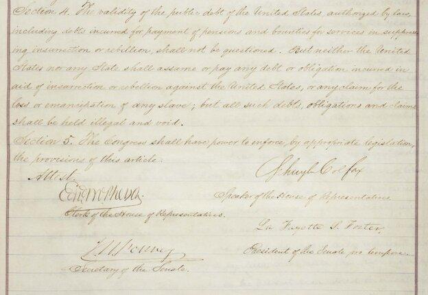14th Amendment signature page.