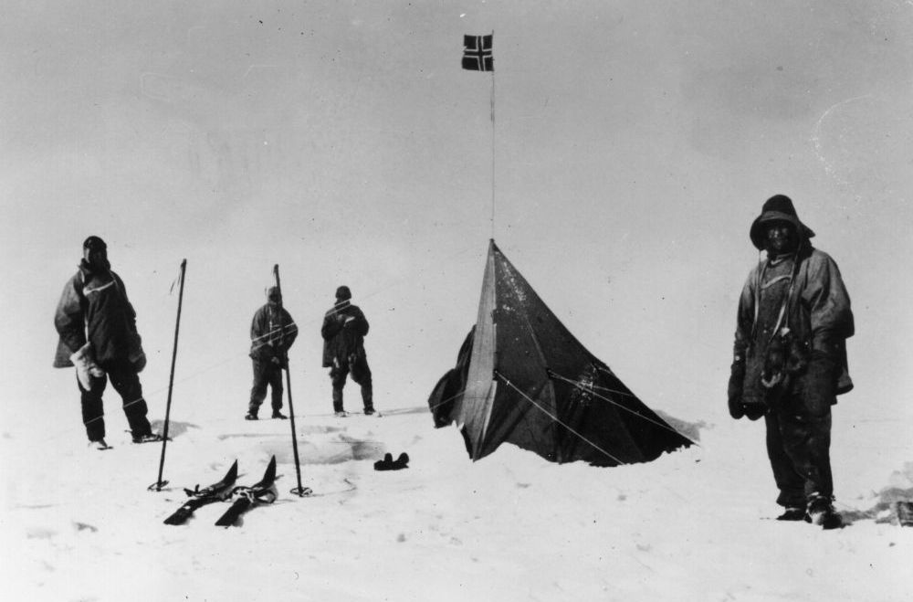 Members of British Capt. Robert Falcon Scott's party discover the tent of Roald Amundsen the Norwegian explorer at the South Pole. Amundsen beat Scott to the South Pole by a little more than a month.
