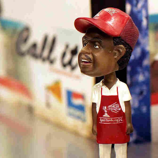 A small figurine of famed counterman J.C. Stroble is shown at The Beacon.