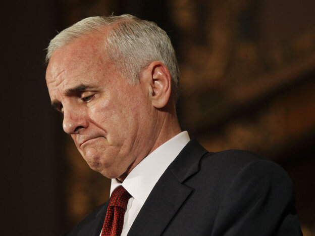 A glum Gov. Mark Dayton just before his state government shut down.