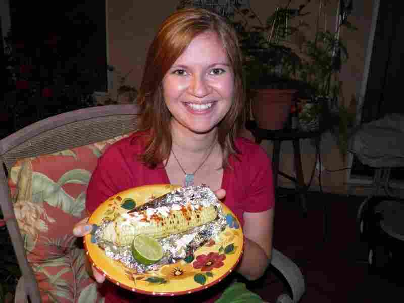 Megan Figueroa before eating her Mexican corn on the cob.