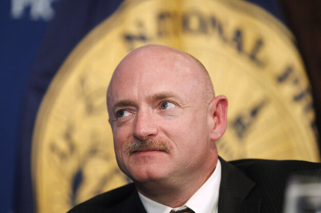 NASA Space Shuttle astronaut Capt. Mark Kelly at a luncheon at the National Press Club in Washington.