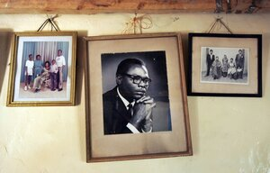 A photograph of Barack Obama's father hangs on the wall of his grandmother Sarah Hussein Obama's house in the Kenyan village of Kogelo.