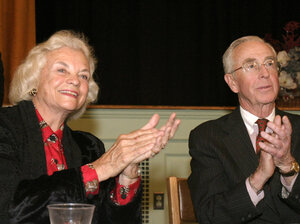 Then-Supreme Court Justice Sandra Day O'Connor and her husband John, attend an awards ceremony in Huntington, N.Y on March 9, 2004. O'Connor left the bench to take care of her ill husband in 2007.  He died in 2009.