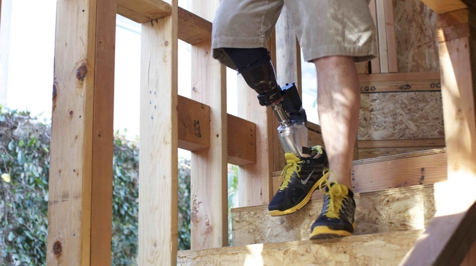 Hugh Herr's PowerFoot BiOM is the first bionic lower leg system that relies on robots to transition users from one step to the next. (Courtesy of iWalk 2011)