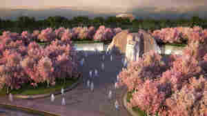 An artist's rendering  of the Martin Luther King, Jr. Memorial on Washington, D.C.'s Tidal Basin. The Lincoln Memorial, where King gave his I Have A Dream speech in 1963, is in the background.