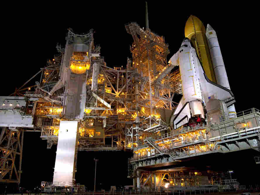 NASA space shuttle Atlantis sits on Launch Pad 39A at NASA Kennedy Space Center's June 16, 2011 in Cape Canaveral, Florida.