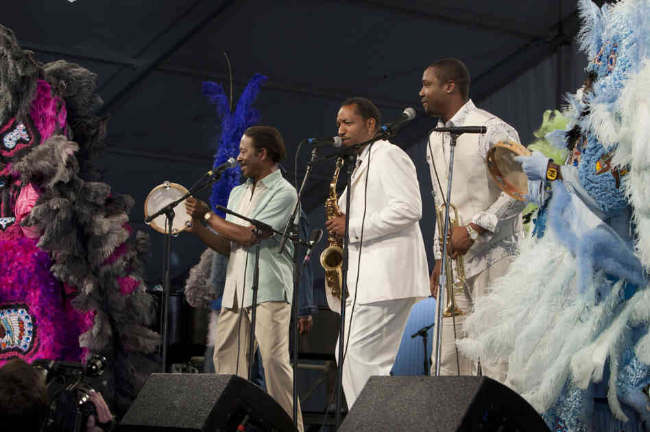Albert Lambreaux (Clarke Peters), Donald Harrison and Delmond Lambreaux (Rob Brown) perform with Mardi Gras Indians at the New Orleans Jazz and Heritage Festival, on Treme.