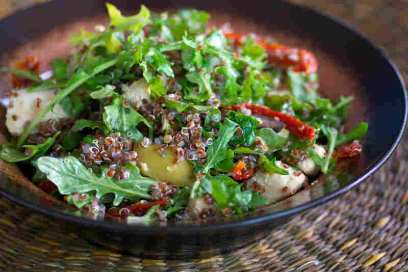 Warm Red Quinoa, Chicken And Arugula Salad
