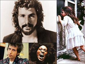 Clockwise from upper left: Cat Stevens, cover for Violent Femmes, cover for Maggot Brain, cover for Bob Dylan's Highway 61 Revisited.