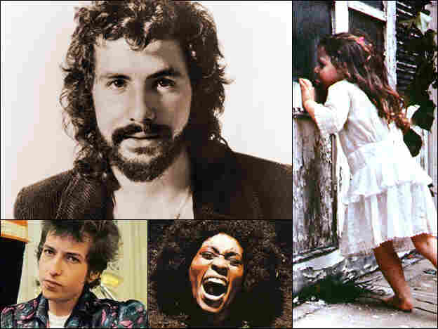 Clockwise from upper left: Cat Stevens, cover for Violent Femmes, cover for Maggot Brain, cover for Bob Dylan's Highway 61 Revisited.