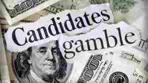 "Hundred dollar bills with the words ""candidates gamble."""