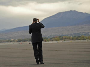 In September 2008, then-Sen. Barack Obama disembarks from his campaign plane in Reno. Mayor Bob Cashell says presidential candidates should spend a little more face time in his town.