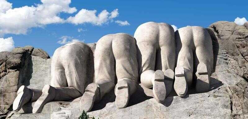 The back side of Mt. Rushmore.