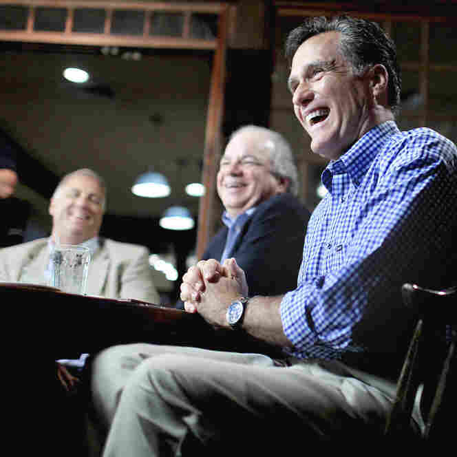 Mitt Romney with local business owners at a town hall meeting in Hampton, N.H., Tuesday, July 5, 2011.