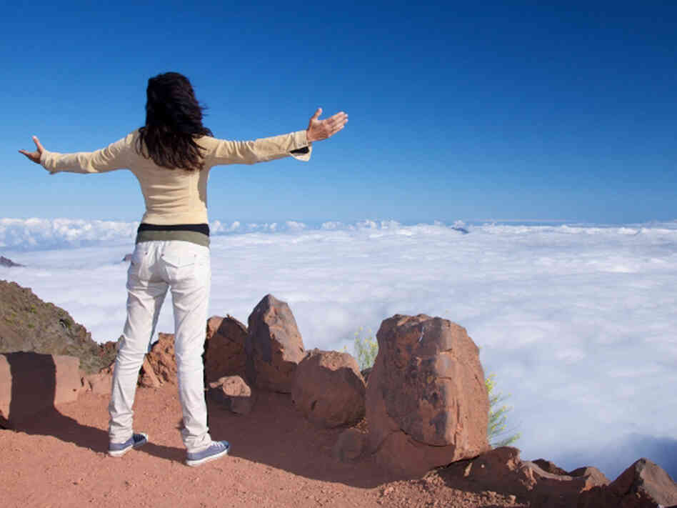 A woman celebrates her climb to the top.
