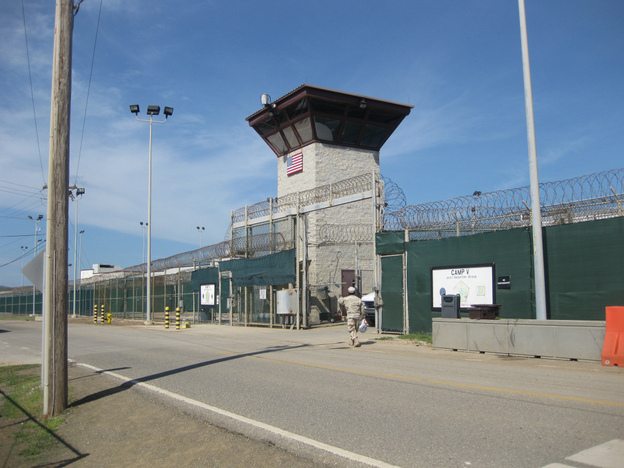 An October 2010 photo reviewed by U.S. military officials shows Camp VI entrance at Guantanamo, where 70 prisoners were detained.