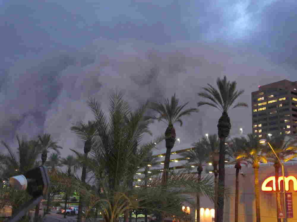 "A dust storm known as a ""habub"" rolled over downtown Phoenix on Tuesday night (July 5, 2011), bringing strong winds and low visibility."