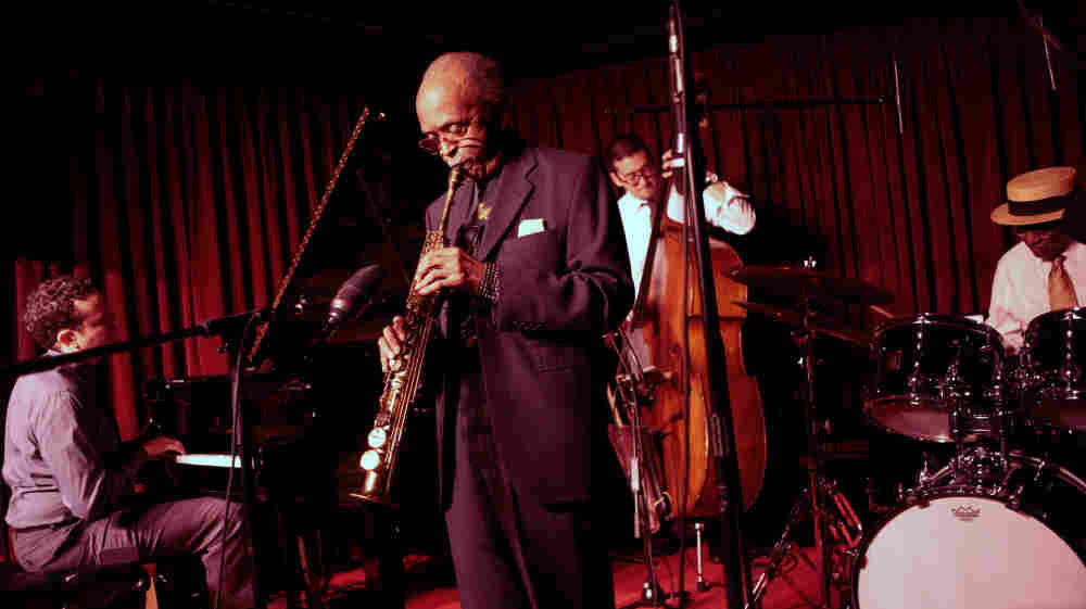 "The Heath Brothers quartet: (L-R) Jeb Patton, Jimmy Heath, David Wong, Albert ""Tootie"" Heath."