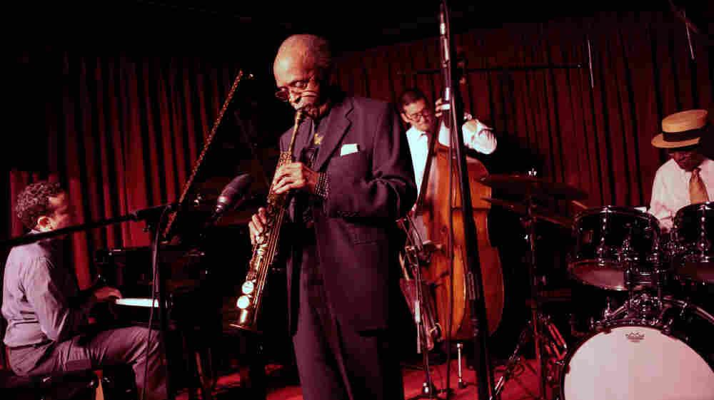 """The Heath Brothers quartet: (L-R) Jeb Patton, Jimmy Heath, David Wong, Albert """"Tootie"""" Heath."""