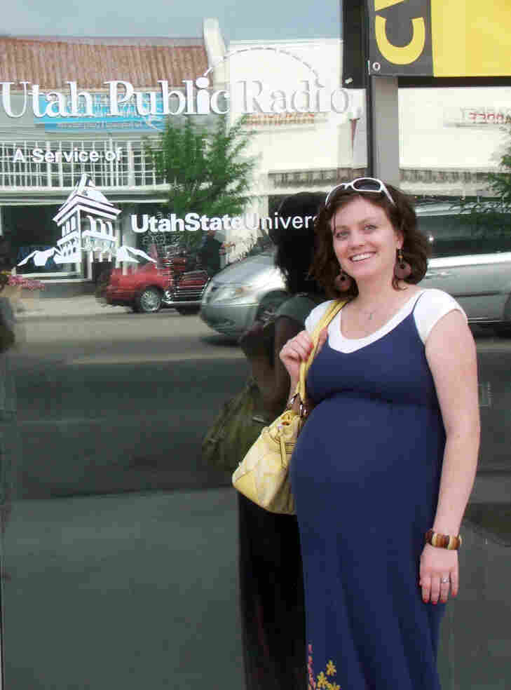 Lucy Peck in front of the Utah Public Radio building in Logan, Utah. She and her husband Aaron were interviewed by host Tom Williams on July 5.