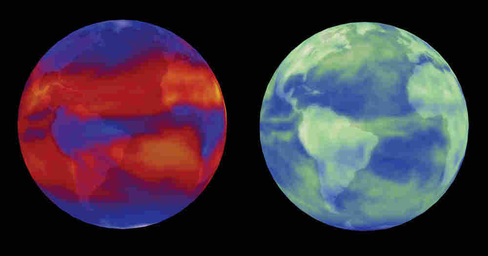 Two NASA visualizations of the Earth in April 2001. On the left, heat given off and pumped out into space. On the right, a look at sunlight reflected back out to space. These images were taken by NASA's CERES experiment.