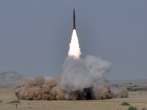 A handout photo from Pakistan's Inter Services Public Relations shows a Ghaznavi ballistic missile being tested on May 8, 2010. Pakistani officials say they hope to double the size of their nuclear arsenal.