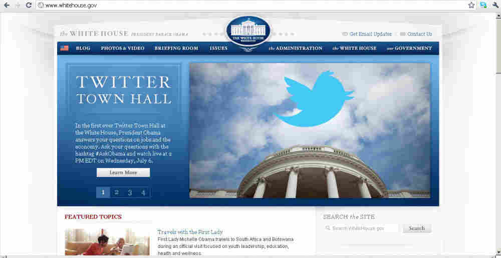 White House screen shot of Twitter promo