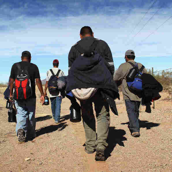 Undocumented Mexican immigrants walk through the Sonoran Desert after crossing the U.S.-Mexico border. Migrants attempting to cross  are at risk of being kidnapped, extorted or even killed by drug gangs.