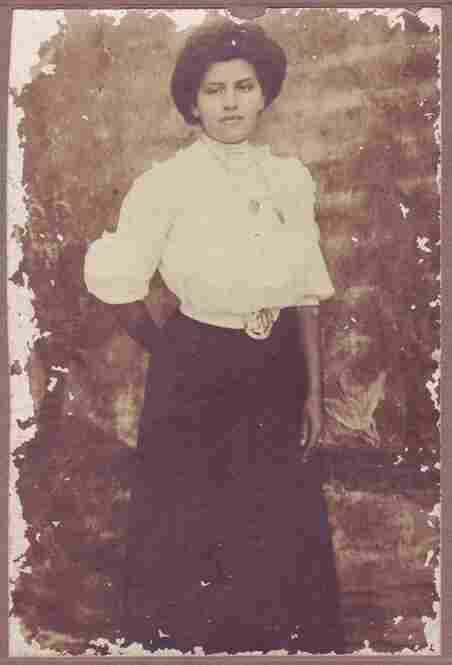 This photo of Gibson Girl Bessie Henderson was likely taken in 1908 or 1909, according to her great-granddaughter, who submitted the photo. The submitter said Henderson's arms are darkened from working in the sun, but she would have shielded her face with a bonnet or straw hat.