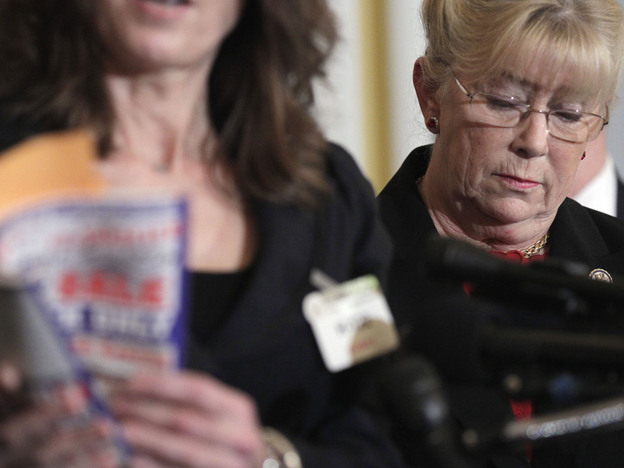 Democratic Rep. Carolyn McCarthy of New York attends a news conference on gun control, in Washington on Jan. 18.