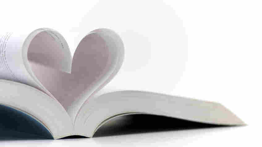Pages of a book made into a heart shape.