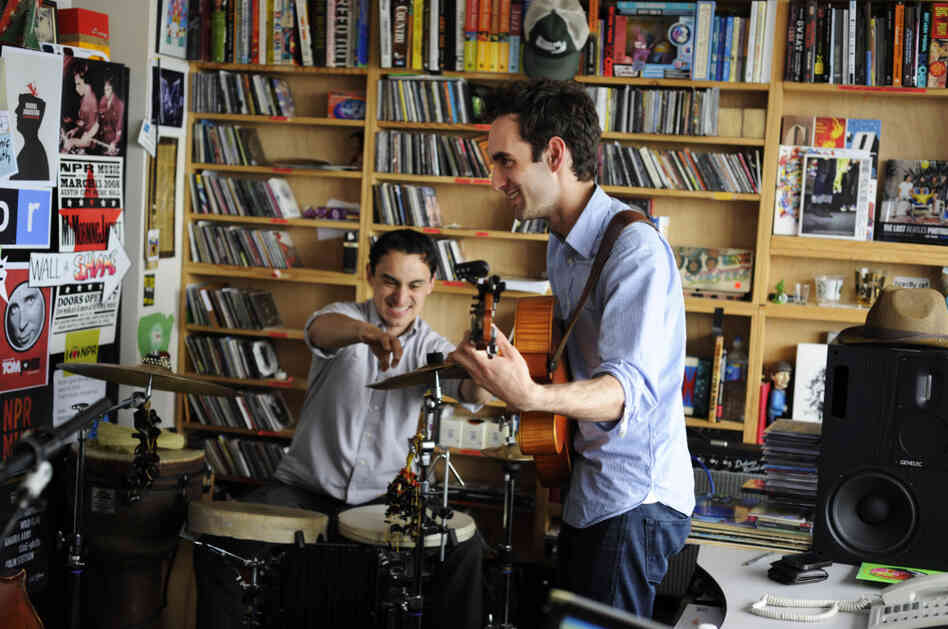 Julian Lage (right) and Tupac Mantilla perform a Tiny Desk Concert. Watch the performance.