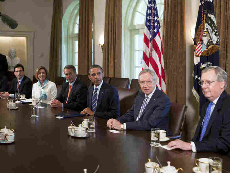 President Obama meets with congressional leaders in the Cabinet Room on July 7.