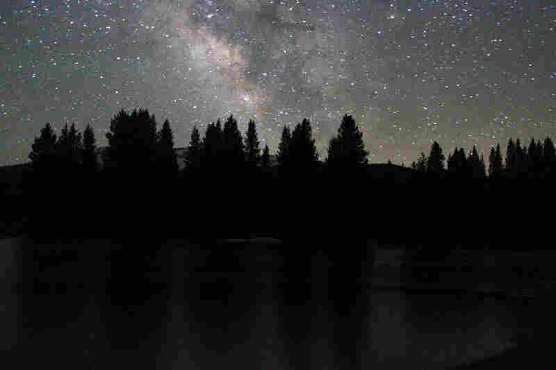 The Milky Way shines brightly above Tuolumne Meadows.